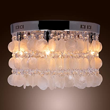 Lightinthebox modern white shell crystal home ceiling light lightinthebox modern white shell crystal home ceiling light fixture flush mount pendant light chandeliers aloadofball Image collections