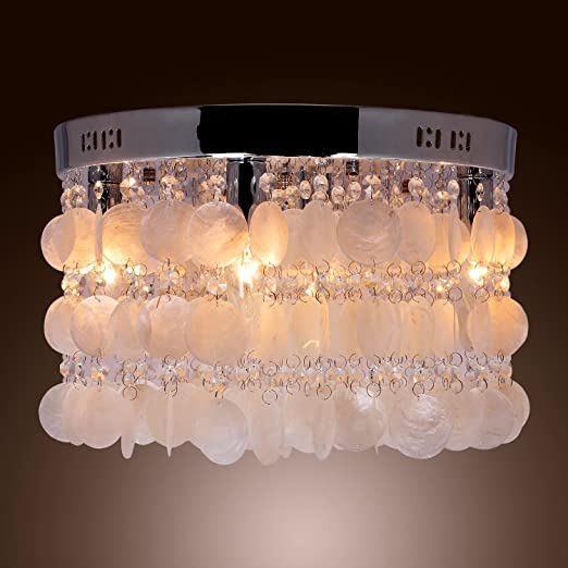 more photos acbc9 02fdb LightInTheBox Modern White Shell + Crystal Home Ceiling Light Fixture Flush  Mount, Pendant Light Chandeliers Lighting for Bedroom, Living Room