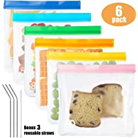 Reusable Sandwich & Snacks Bags, Reusable Ziploc Storage Bags Freezer Safe, Extra Thick PEVA Material BPA/Plastic Free Bags for Lunch, Snacks, Toiletries, Make-up