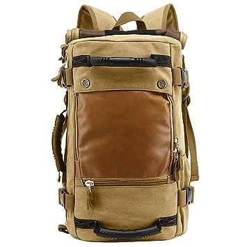9e6d76311cfd4 HUKOER 35L Canvas Rucksack Tactical Vintage Daypack Große Kapelle Leder  Schultern Tasche Wasserresistent Molle Rucksack zum