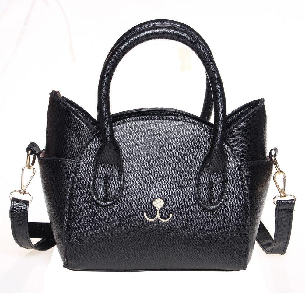 Handbag for Women, Cute Cat Top Handle Tote Bag, Girls Leather Satchel Cross Body Shoulder Bag with Strap Black