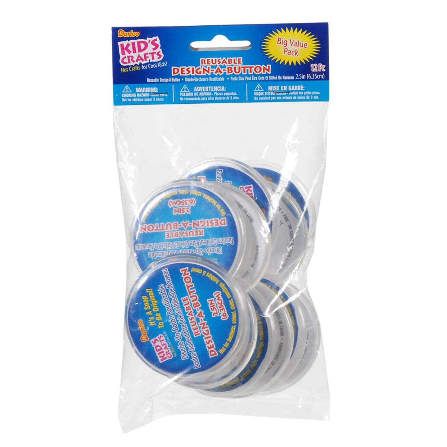 Darice Kids Design-A-Button 2.5 inches 12 Pieces (3-Pack) 2406-38BV