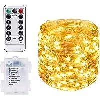 Vicloon Cooper String Light, 100 leds Warm White String Light 10 M, Waterdicht IP65 Koperdraadlicht voor Tuinen, Huizen…