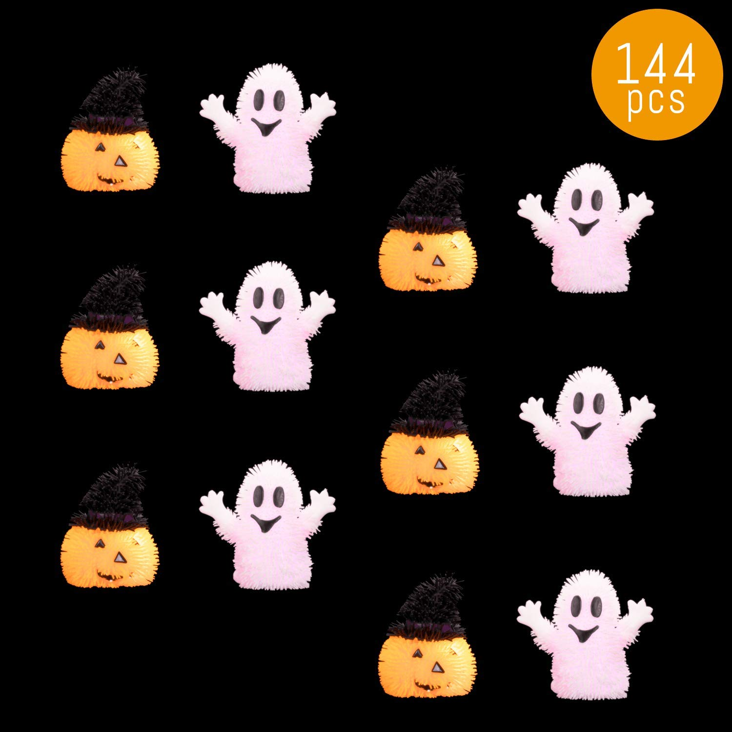 Lumistick LED Light Up Happy Halloween Puffer Toys - These Adorable and Squeezy Toys are Meant for Both Kids and Adults! (Assorted, 144 Puffer Toys)