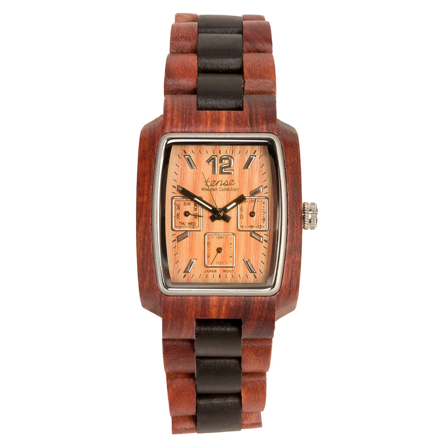 Tense Wood Watch Herren 2-Tone Dark Light Sandelholz 3 WÄhlen J8302Sd