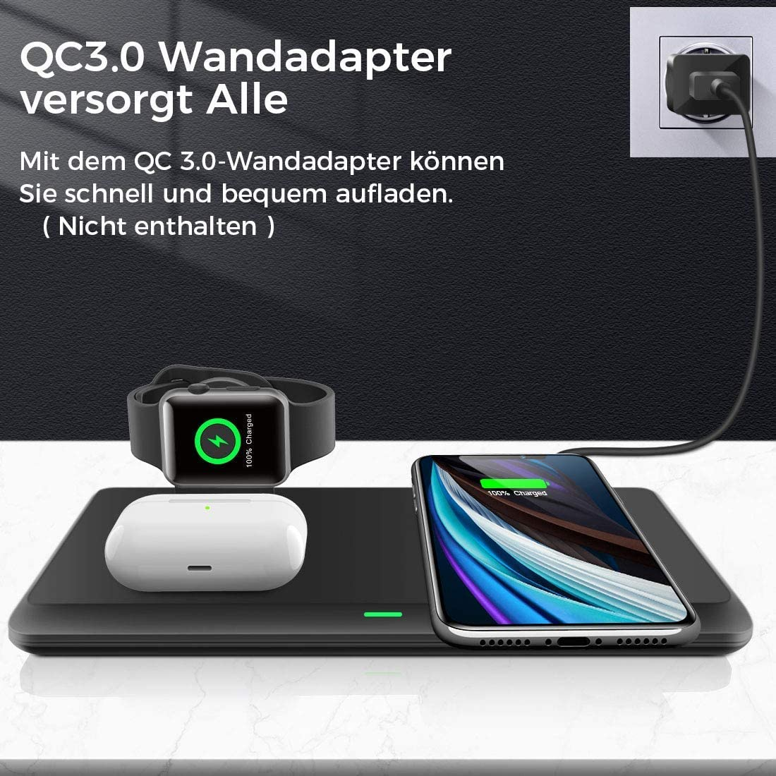 Estaci/ón de Carga Inal/ámbrica para iPhone SE(2020)//11 Pro//11 Pro Max//XR//XS//X//8 Samsung Galaxy S20//S10 3 en 1 Soportes de Carga Inal/ámbrico para Apple Watch Cargador Inal/ámbrico R/ápido AirPods Pro