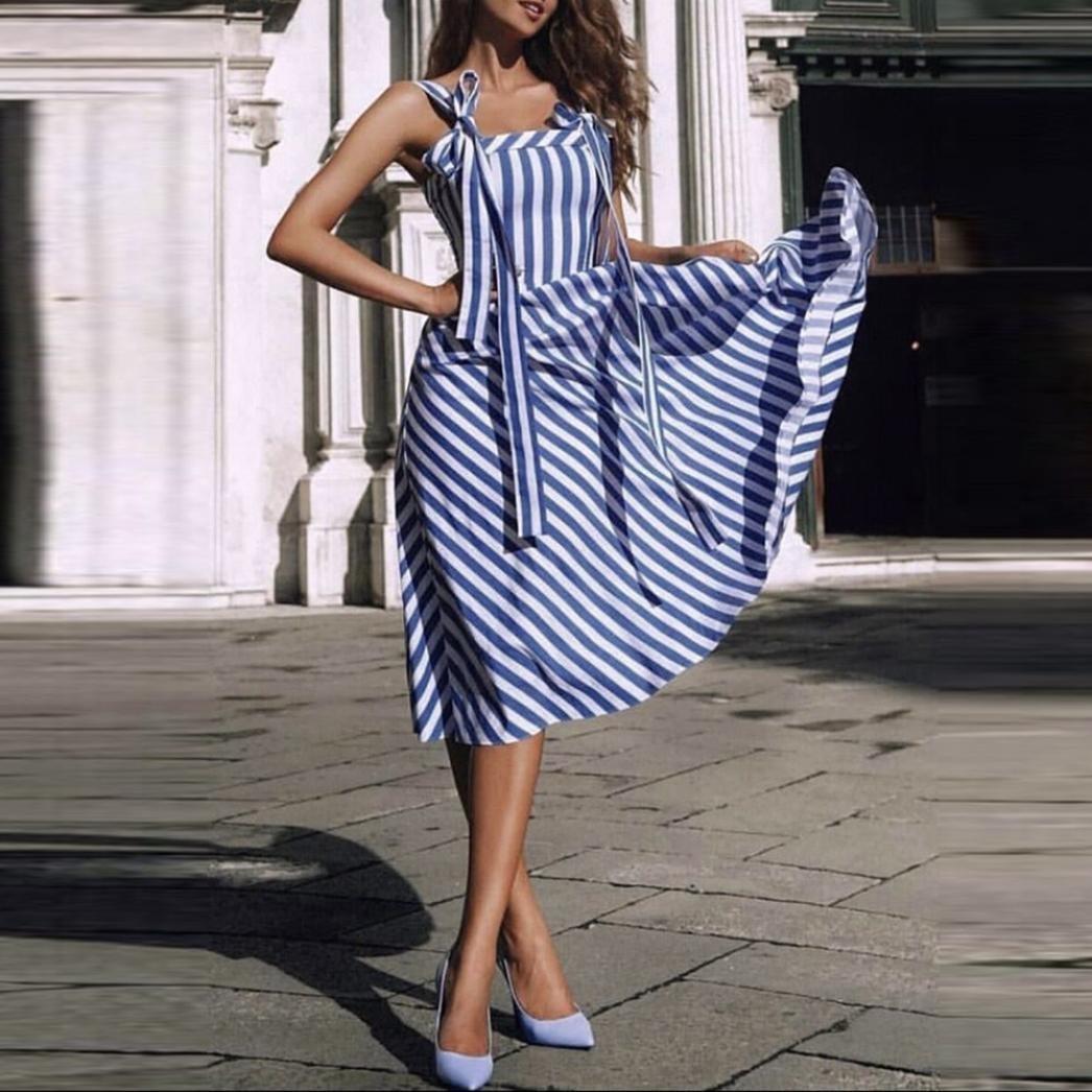 Overdose Vestido De Mujer De La Raya De La ImpresióN De Moda Vestido Informal Independiente Sling Bow Boho Rayado: Amazon.es: Ropa y accesorios