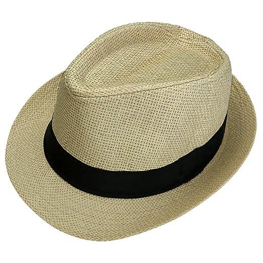 87fe8fff6b FALETO Unisex Summer Panama Straw Fedora Hat Short Brim Beach Sun Cap  Classic