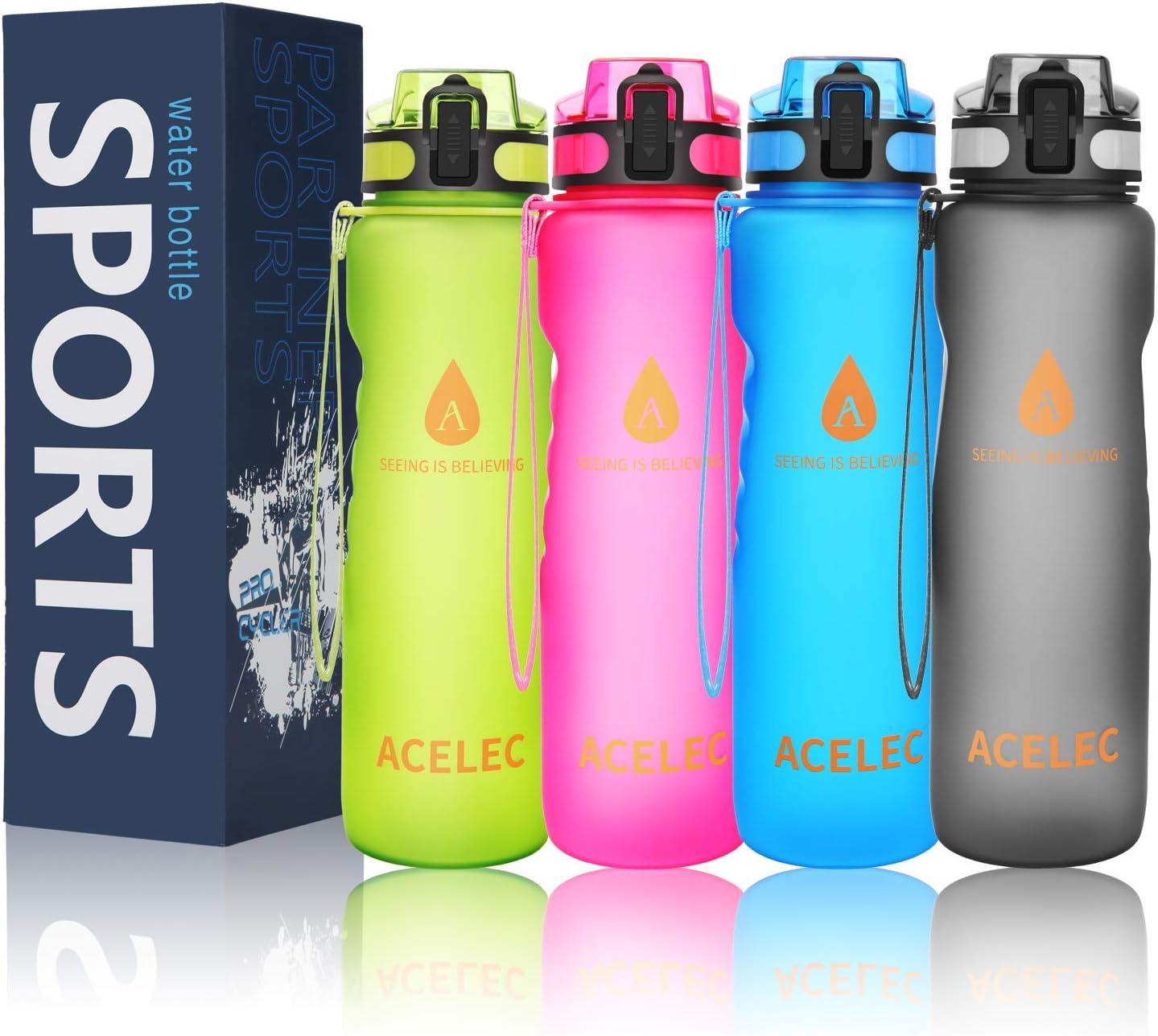 ZOUNICH Trinkflasche 1L Sport BPA frei Auslaufsicher 700ml//500ml//380ml Wasserfl.