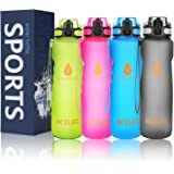 Acelec Water Bottle Sport Water Bottle (1L/36oz) Leak Proof BPA Free Reusable Eco-Friendly Easy Carrying Sports Drink Bottle For Camping, Hiking, Biking, Traveling Large Running Water Bottle
