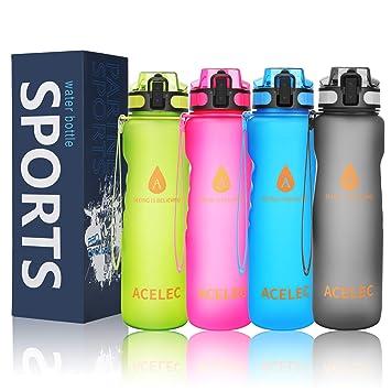 Acelecal Botella de agua deportiva (1 l/36 oz), a prueba de