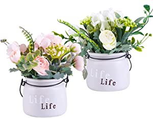 LUEUR Artificial Flowers in Ceramic Vase 2 Pack Potted Fake Floral Flower Hanging Wall Silk Flower Arrangement Bonsai for Wedding Home Party Table Centerpieces Decoration (White & Pink)
