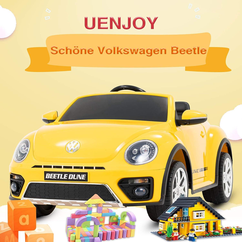 Doppelt/ür Blau UEnjoy kompatibel mit Volkswagen K/äfer Kinderauto 12V Kinderfahrzeug Elektro VW Beetle Double-Drive Auto f/ür Kinder mit Fernbedienung,Musik,LED-Leuchten