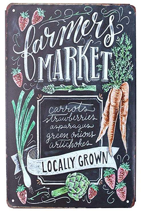 Farmers Market Locally Grown Póster de Pared Metal Creativo ...