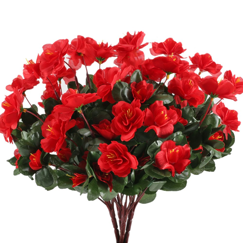 GTIDEA-4pcs-Silk-Flower-Artificial-Azalea-Fake-Faux-Primroses-Bouquet-Arrangements-DIY-Home-Garden-Table-Patio-Wedding-Party-Christmas-Decoration-Red