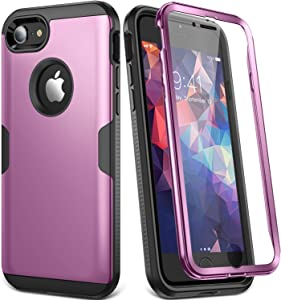 YOUMAKER Designed for iPhone 8 Case & iPhone 7 Case, Full Body Rugged with Built-in Screen Protector Heavy Duty Protection Slim Fit Shockproof Cover for iPhone 8 4.7 Inch - Purple