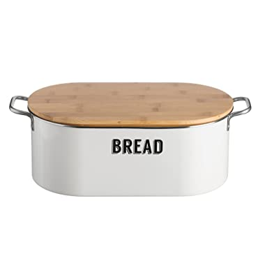 Typhoon Living Coated Steel Retro Bread Bin with Bamboo Lid, 14-1/2-Inches by 7-Inches by 6-inches, White