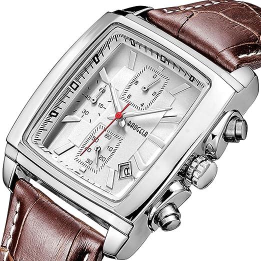 Relojes para Hombre Moderno, Reloj Rectángulo Blanca, Relojes Militar de Lujo de Cuero Marrón con Calendario Reloj de Pulsera de Cuarzo para Hombres, ...