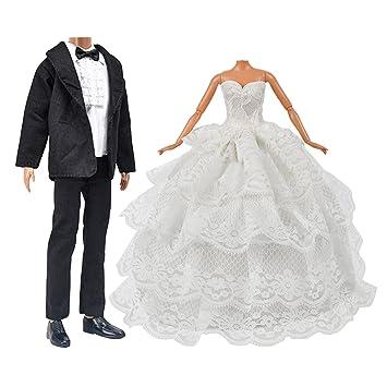 Muñeca juguete ropa de la boda Pack 1 PC chica muñeca novia vestido de novia con