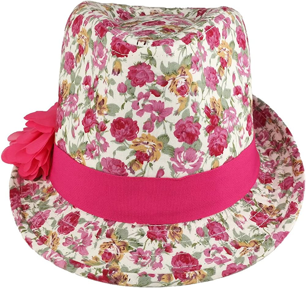 Trendy Apparel Shop Girls Rose Floral Print Fedora Hat with Flower Hat Band