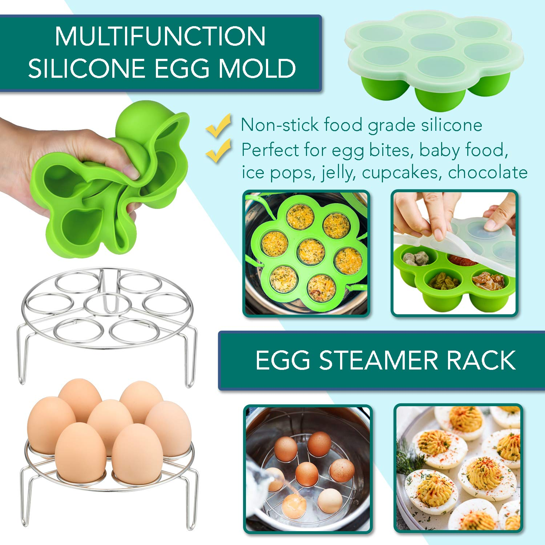 Instant Pot Accessories Set by LeafLife | Compatible with 5,6,8 Qt Instapot- Steamer Baskets, Springform Pan, Egg Bites Mold & More (BONUS RECIPES) by LeafLife (Image #4)