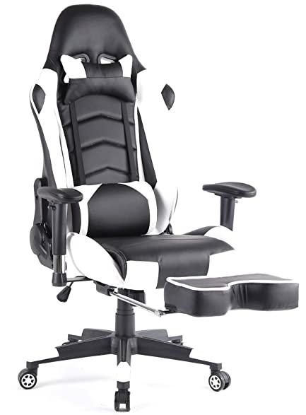 top gamer ergonomic gaming chair high back swivel computer office chair with footrest adjusting headrest and