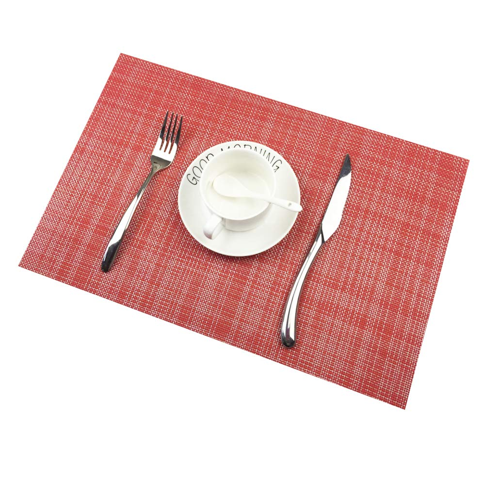 Addfun®Table Mats Set of 6,New PVC Insulation Non-slip Insulation Washable Placemats Beige Fandy Life