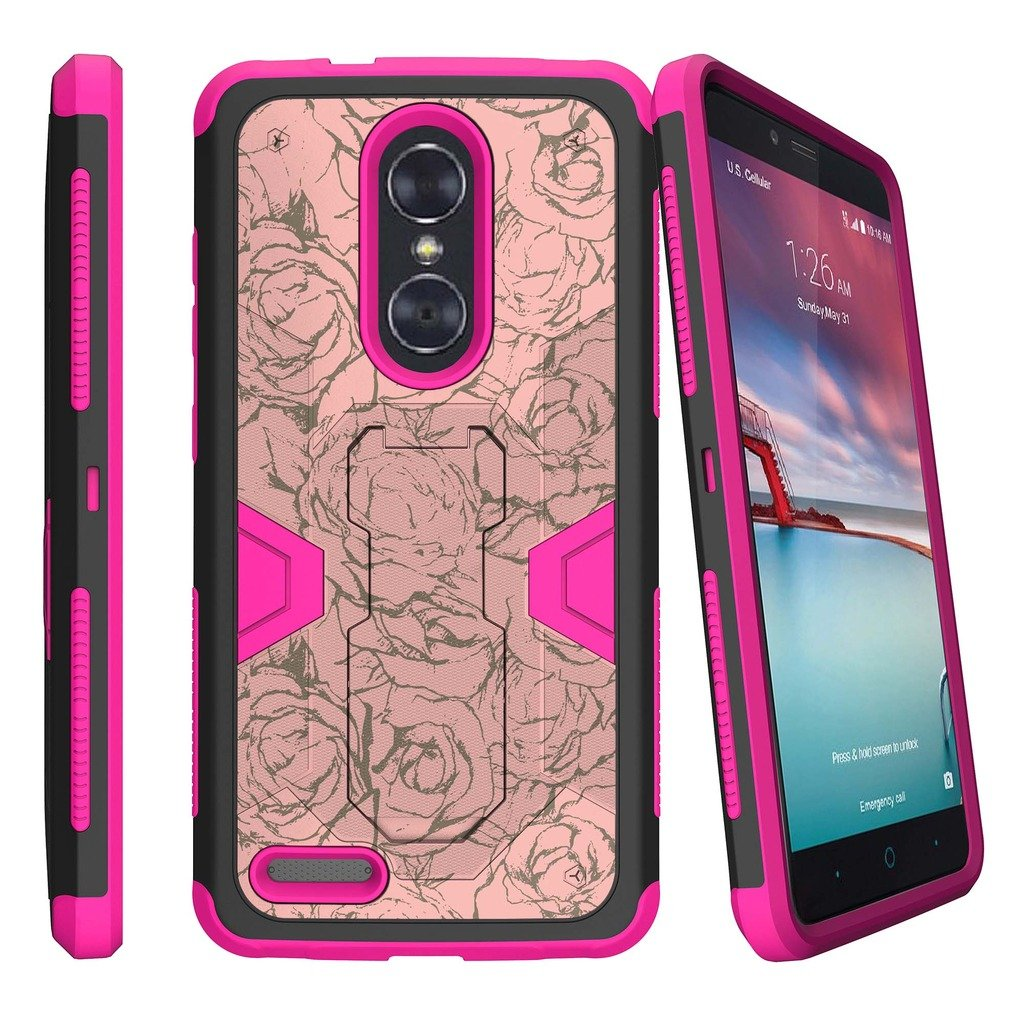MINITURTLE Case Compatible w/ Zmax Pro Case| ZTE Zmax Pro Pink Case| ZTE Carry Case| Z981 Case [MAX DEFENSE] Heavy Duty Pink and Black Hybrid Case w/ Slim Built in Stand Clip Floral Rose
