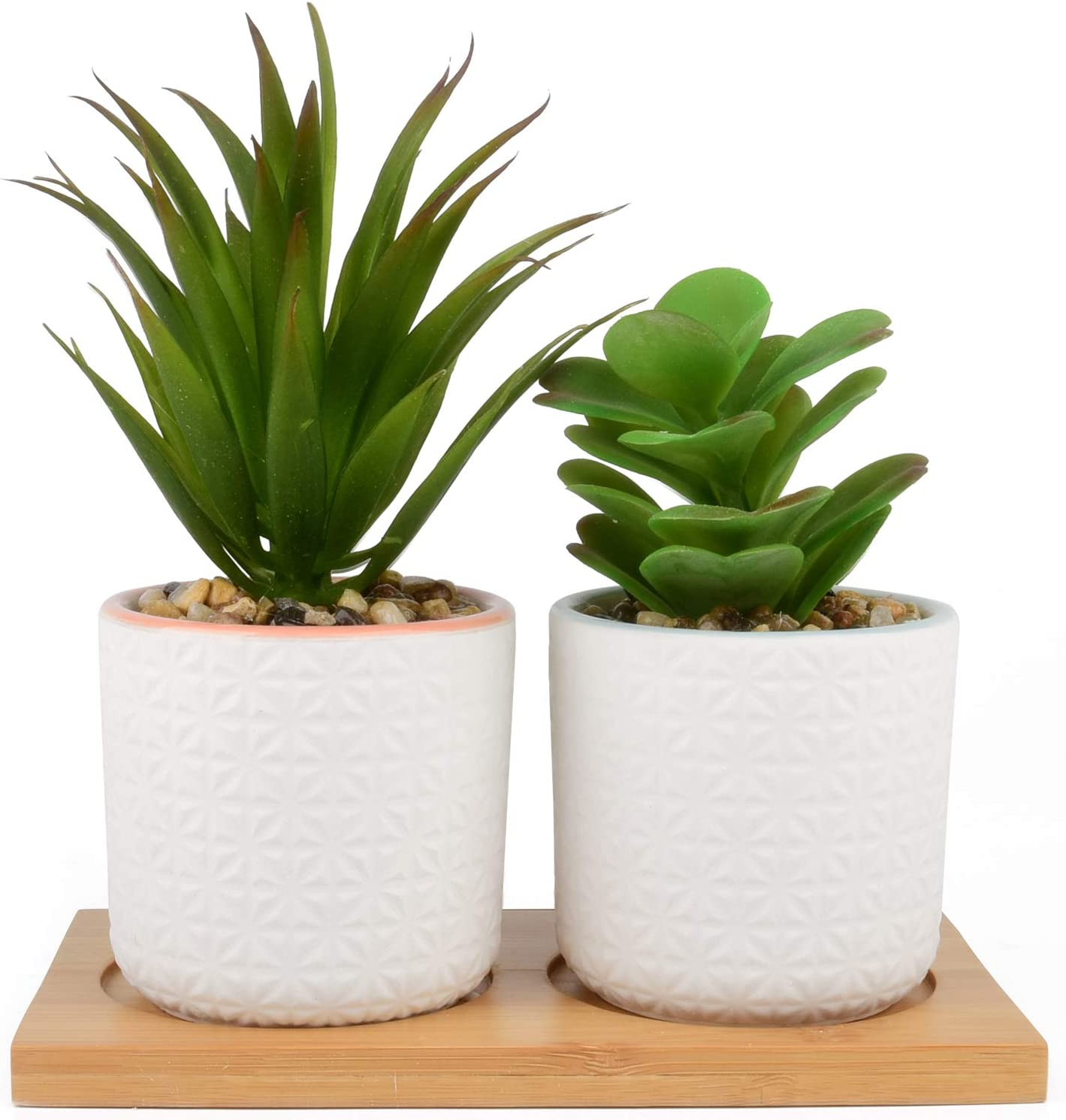 """IMPRESA Set of 2 Artificial Succulent Plants, Fake Plants in White Ceramic Pots with Bamboo Tray, 6.5"""" Tall"""
