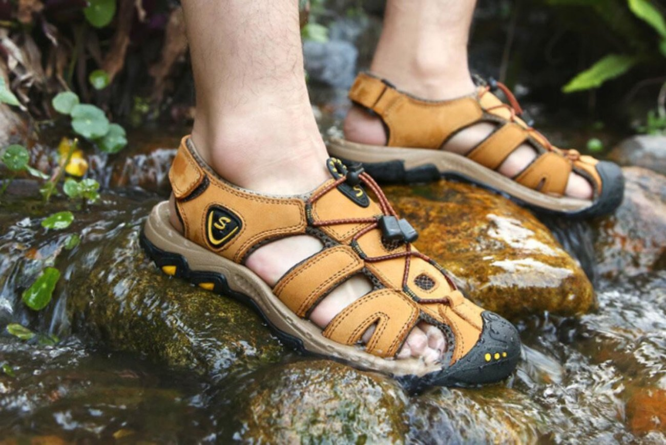 DANDANJIE Herren Sommer Sport Sandalen Leder Closed-Toe Closed-Toe Closed-Toe Outdoor Sandalen Trekking Schuhe für Bergsteigen, Reisen, Upstream 19a9c4
