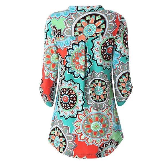 Niña otoño fashion fiesta carnaval,Sonnena ❤ Blusa estampada floral encantadora de manga larga para mujer Roll-Up Top Casual con botón Blusas en capas de ...