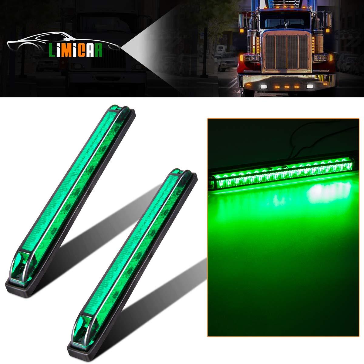 LIMICAR 2PCS Led Marker Light Utility Strip Bar Led Marker Clearance Light 12V 8'' Truck Trailer Boat 18 LED Green