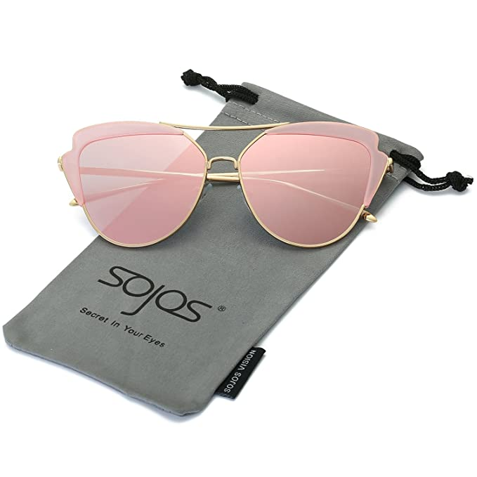 SojoS Schick Klassische Retro Runde Verspiegelt Sonnenbrille Damen SJ2034 mit Rosa Profil Rahmen/Grau Linse 3a6S24M4si