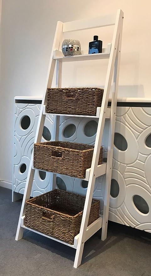4 Tier escalera estante expositor de almacenamiento estantes shabby chic mimbre cestas: Amazon.es: Hogar