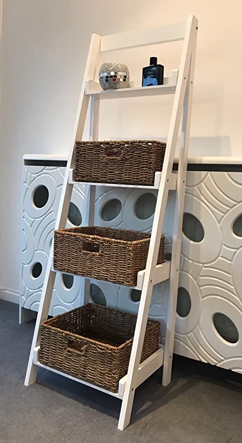 4 Tier Ladder Shelf Display Stand Storage Shelves Shabby Chic Wicker Baskets