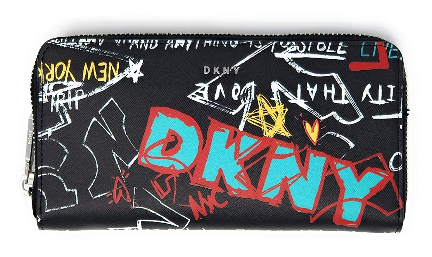 Dkny womens graffiti saffiano leather zip around continental wallet black amazon co uk clothing