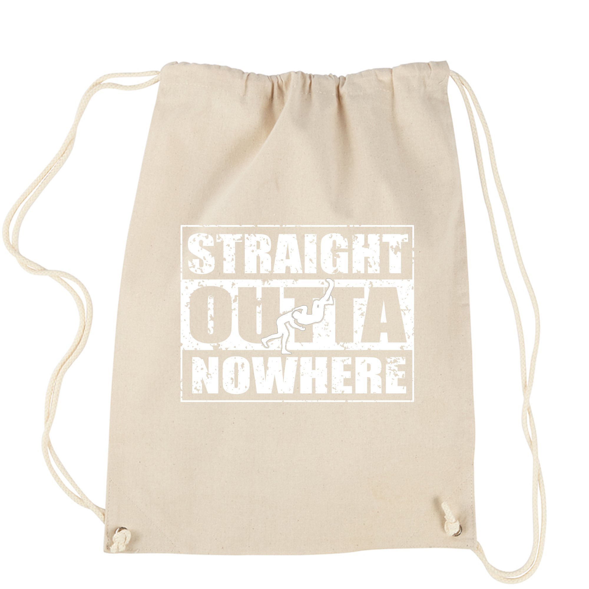 Backpack Straight Outta Nowhere Wrestling Natural Drawstring Backpack by Expression Tees