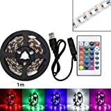 Fossrn LED Tira USB 0.5M/1M/2M,Retroiluminación LED 5050 Colores RGB, con Controlador,para TV,HDTV, Oficina, Espejo, Computadora (2M)