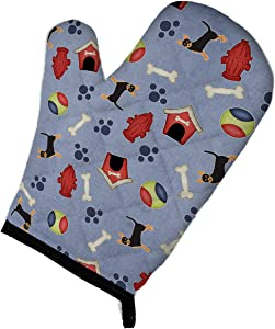 Caroline's Treasures BB4068OVMT Dog House Collection Black Tan Chihuahua Oven Mitt, Large, multicolor