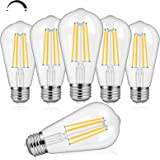 6-Pack 8W Dimmable Edison LED Light Bulbs 100W Equivalent, Vintage ST64/ST21 LED Filament Bulbs with 1000LM, 3000K Soft Warm