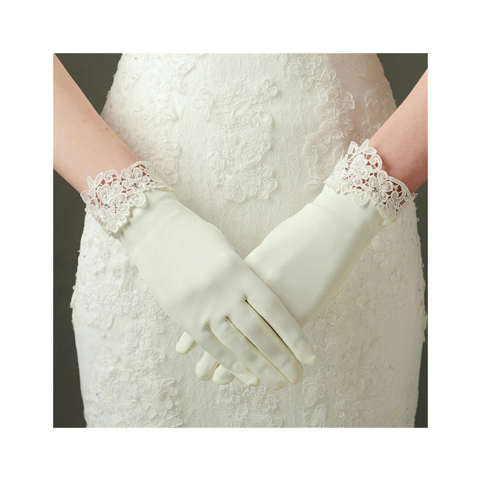MissDaisy Dull Matte Satin Bride Gloves Ivory Lace Edge Party Short Dress Gloves by MissDaisy (Image #1)