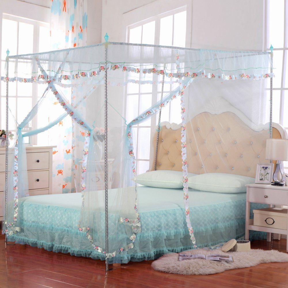 JQWUPUP Mosquito Net for Bed - 4 Corner Canopy for Beds, Canopy Bed Curtains, Bed Canopy for Girls Kids Toddlers Crib, Anti-Mosquito Bedroom Decor (Twin Size, Light Blue)