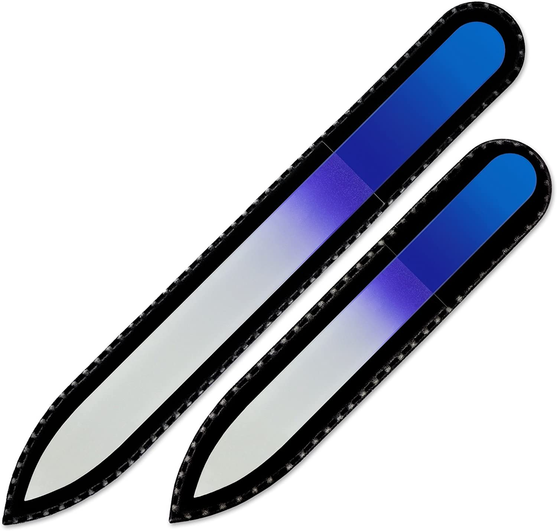 Mont Bleu Conjunto de 2 limas de uñas de cristal de color en estuche de terciopelo negro, vidrio templado checo auténtico, Garantía de por vida | Fabricado a mano en la República Checa