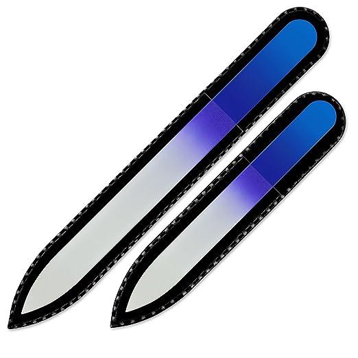 3 opinioni per Set di 2 lime per unghie in vetro colorato in sacchetto di velluto nero, vero