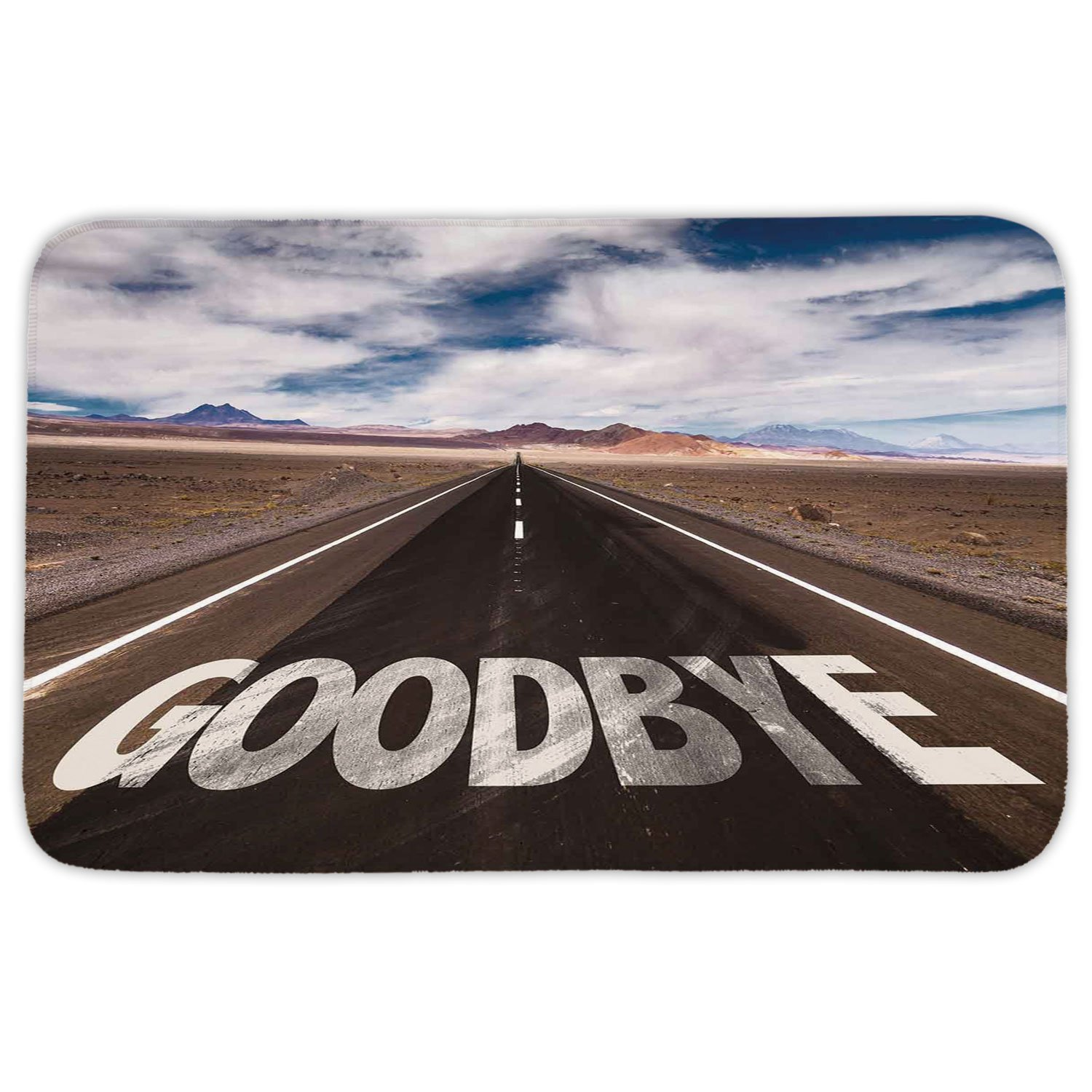 Rectangular Area Rug Mat Rug,Going Away Party Decorations,Goodbye Written on Asphalt Road Highway City Urban Words,Brown Blue White,Home Decor Mat with Non Slip Backing
