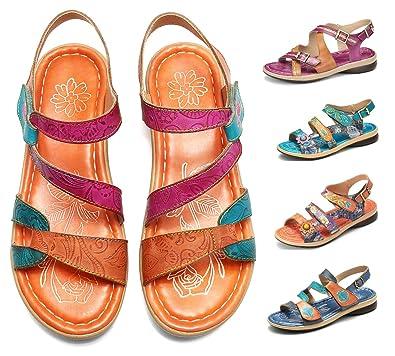 79bb2a8e7ed3f Sandales Cuir Femmes Plates, gracosy Chaussures de Marche Été à Talons  Plats Semelle Confortable Sandales