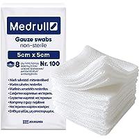 Medrull Niet-steriele wondkussens - 100% katoen, zeer zacht, absorberend mull - zonder plakken - pijnloos verwijderen…