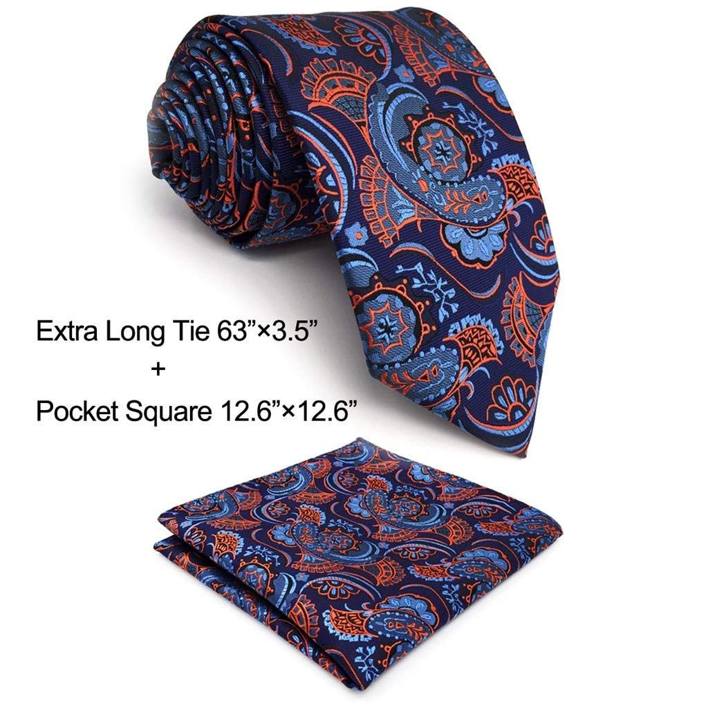Shlax& Wing Paisley Blue Orange Mens Neckties XLTies Jacquard Woven Shlax & Wing C13-H