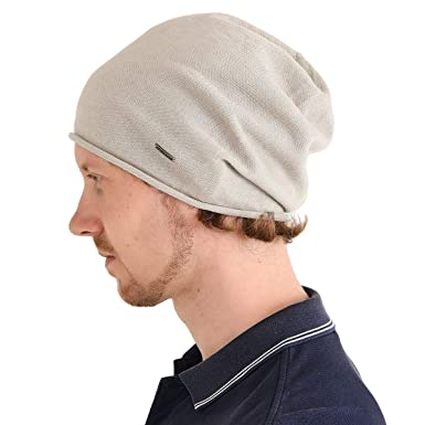 Mens Organic Cotton Beanie - Womens Slouchy Hat Cooling Unisex Slouch Cap  Chemo Baggy Beige 4d74714fc0e