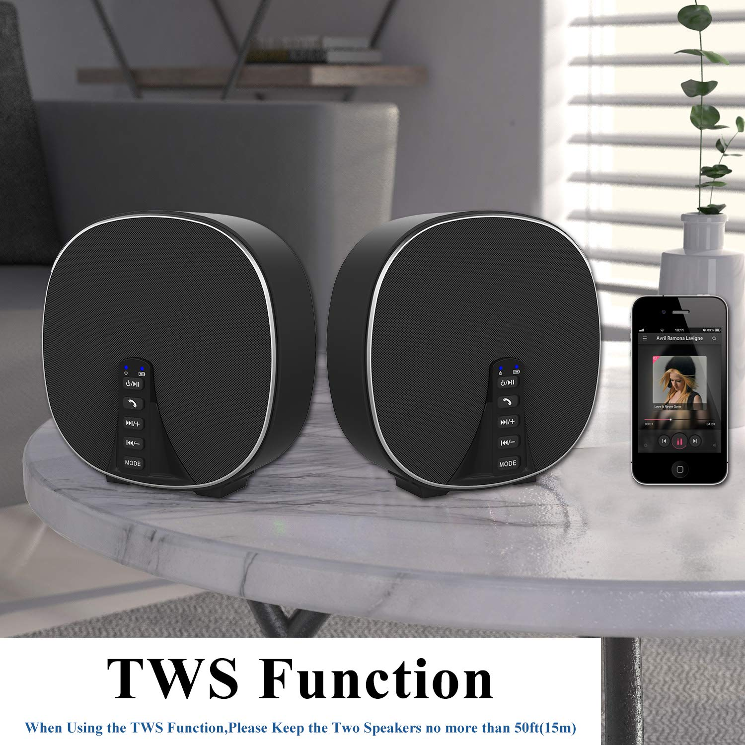 Wireless Portable Bluetooth Speaker 5.0 Build-in Mic, 10W HD Audio, Enhanced Bass, Radio Support, Hands-free Call and TF Card Slot, Stereo Sound for iPhone, Tablet, Android (DY52 Black-Silver)
